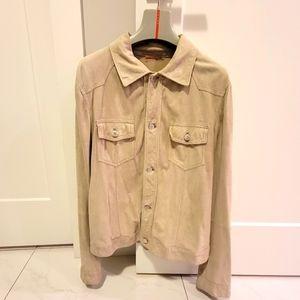Prada Suede Leather Denim Style Beige Jacket SZ S